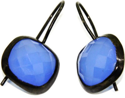 Casa De Plata Chushion Blue Chalcedony Brass Earring Chalcedony Brass Dangle Earring