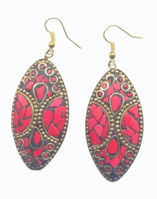 Pearls India Ellipse Red Metal, Lac Dangle Earring