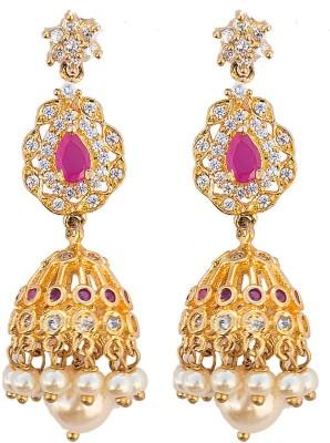 6 Lotus Exotic Cubic Zirconia, Mother of Pearl Brass Jhumki Earring