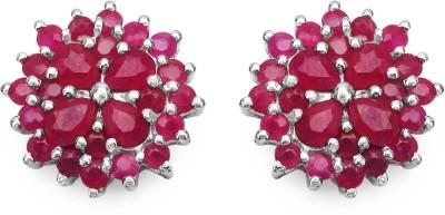 Johareez Fashion Ruby Sterling Silver Stud Earring