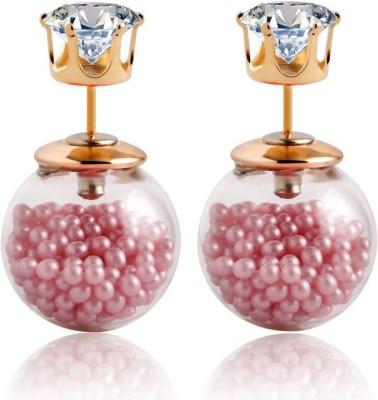 Lady Rainbow Rose Pink Stud Cubic Zirconia Alloy Plug Earring