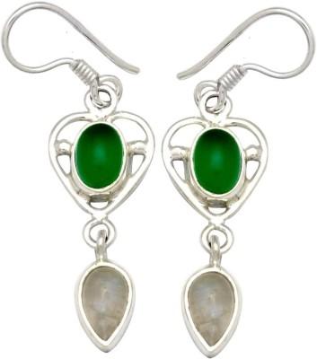 YugshaJewels Elegant YJE-1120 Moonstone, Onyx Sterling Silver Dangle Earring