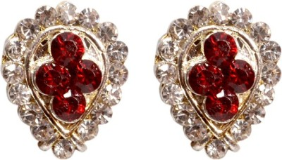 Gracent Oval Golden and Red Stone Studs Alloy Stud Earring