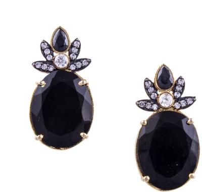Jahnvi oval black Metal Stud Earring