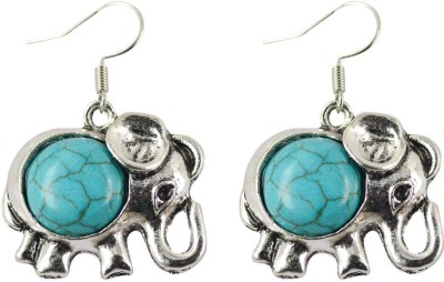 iSweven Trendy Crystal Elephant Turquoise Silver Metal Jewelry For Girls 23*27mm Alloy Dangle Earring