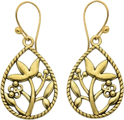 Studiob40 Golden Alloy Designer Drop Earrings Alloy Drop Earring