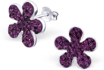 Maayin Blossom - Purple Crystal Silver Stud Earring