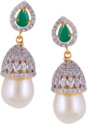 Mahaveer Pearls Gold Polished Cubic Zirconia, Green Coloured Stones & Pearl Pearl, Cubic Zirconia Brass Drop Earring