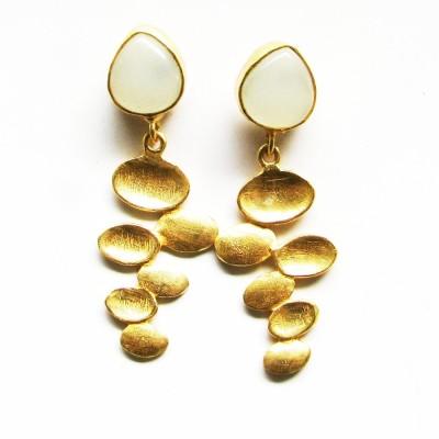 Bhrti semi precious Gold plated Aquamarine Brass Dangle Earring