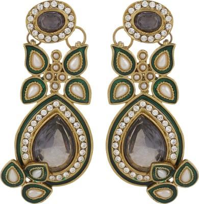 Dilan Jewels Classy Grey and Greens Zircon Alloy Drop Earring