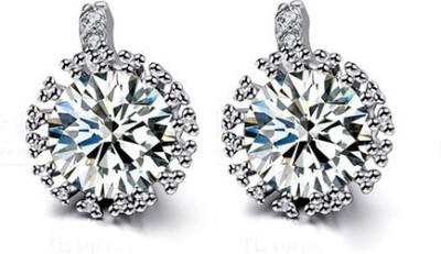 iSweven Silver Latest Fashion Luxuryaaa Zircon Crystal Top Quality Wedding Round Jewelry Ed2502 Zircon Alloy Stud Earring