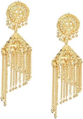 Giftmania Golden Jhallar Brass Jhumki Earring