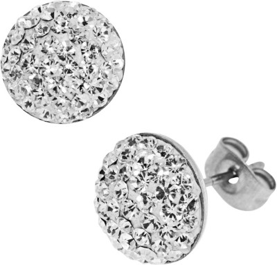 Inox Jewelry Classic Pave Set Button Cubic Zirconia Stainless Steel Stud Earring