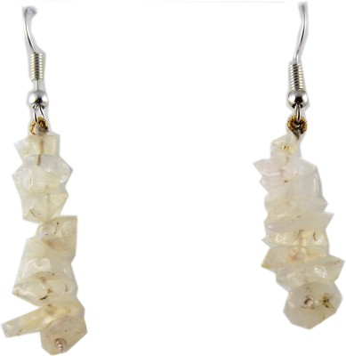 Ear Lobe & Accessories Uncut Rainbow Moonstone White Metal Dangle Earring