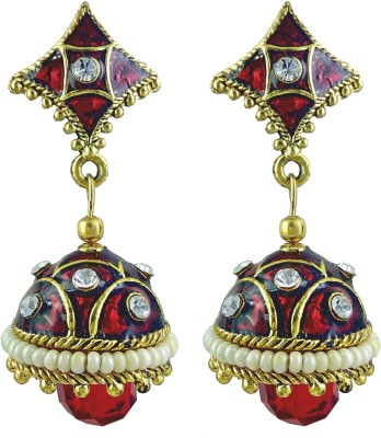 YUVEN Clear Shining Enamel Pretty Cubic Zirconia Brass, Alloy Jhumki Earring