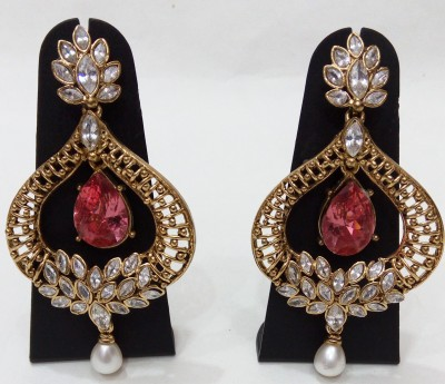 Womaniya pink kundan beauty Crystal Alloy Drop Earring
