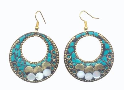 Pearls India Circle Green Metal, Lac Dangle Earring