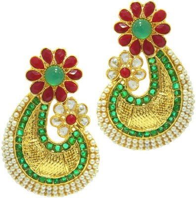 Peora Colourful Crescent Brass Drop Earring
