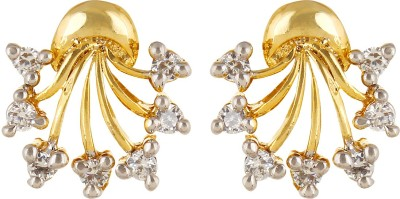Moda Stella American Diamond Gold Plated White & Gold Color Brass Stud Earring