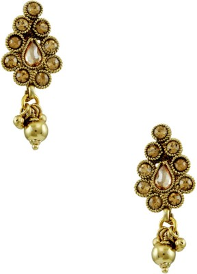Orniza Polki in Champagne Color with Golden Brass Chandbali Earring