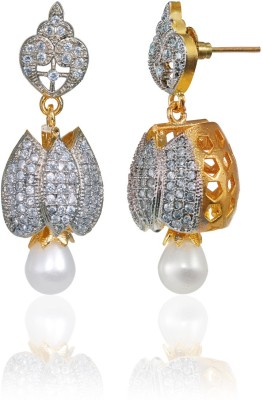 Alysa Abeer Cubic Zirconia Brass, Alloy, Silver Jhumki Earring