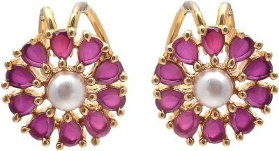 JewelAway Pink Flower Brass Cuff Earring