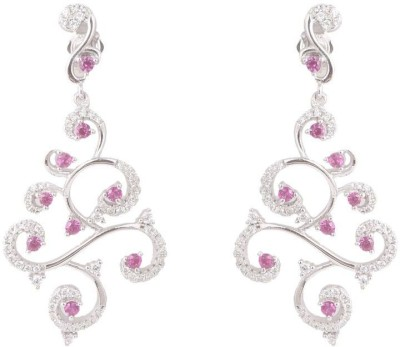 TUAN Curved shaped creative Cubic Zirconia, Tourmaline Sterling Silver Chandelier Earring