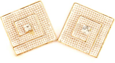 NM Products White Square Metal Stud Earring
