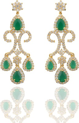 Chaahat Fashion Jewellery Beautiful Gold Plated Cubic Zirconia Copper Chandelier Earring