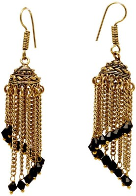 Jaipur Mart Spiral Black Crystal with Chain Crystal Alloy Jhumki Earring