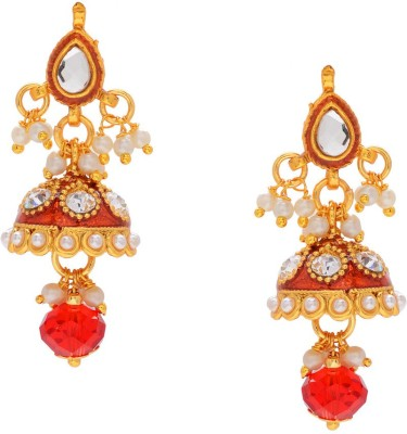 Gehnamart Traditional Red Alloy Jhumki Earring