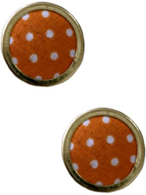 Eldefashions Casual Button Design Brass, Fabric Stud Earring