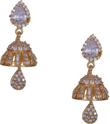 Mahaveer Pearls Phenomenal Cubic Zirconia, Pearl Brass Jhumki Earring