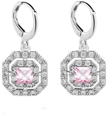 Eterno Fashions Exclusive AAA CZ Square Cubic Zirconia Alloy Huggie Earring