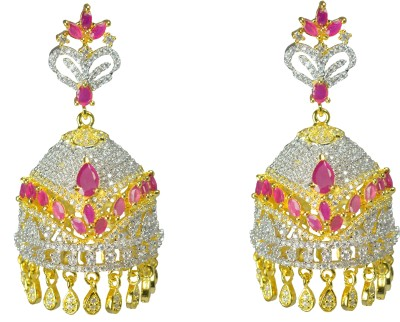 JDJ Imitation Jewelleris Red For Love Zircon Alloy Jhumki Earring