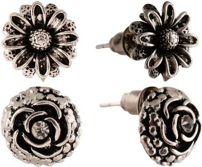 Anokhi Ada Rose and Sunflower Metal Stud Earring
