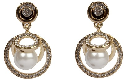Divitha Allure Pearl drop alloy trendy fashion pair of danglers. Alloy Drop Earring