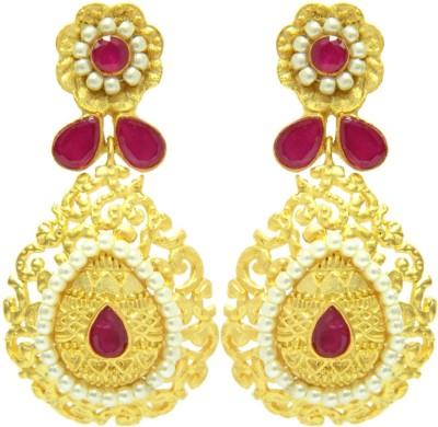 Peora Arabesque Floral Brass Drop Earring