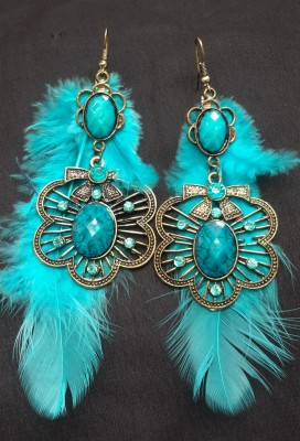 Divitha Allure Beautifull teal blue furr adorned with stone hangings. Alloy Drop Earring