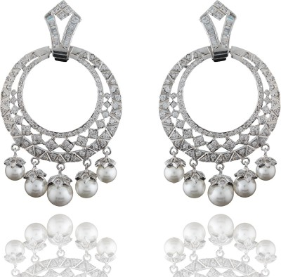 Chaahat Fashion Jewellery Silver Plated Cz Stones Cubic Zirconia Copper Chandbali Earring