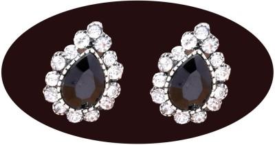 Indian Cheez Black Stone Leaf with Diamonds Earrings Metal Earring Set