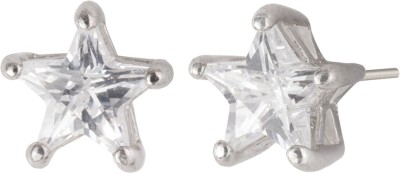 Siyora Classic Silver Brass Stud Earring