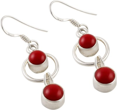 Jhumka Creations Spring Sparkle Coral Silver Dangle Earring