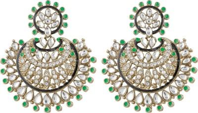 Radius Green Sparkle Zircon Metal Chandbali Earring