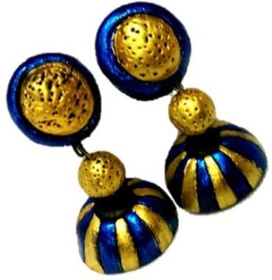 Sri Sakthi Terracotta Blue&Gold Fabric Jhumki Earring
