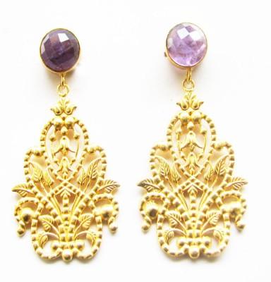 Gharaz semi precious Gold plated Amethyst Brass Dangle Earring
