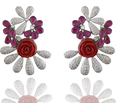 Chaahat Fashion Jewellery Flower With Leaf Shaped Cubic Zirconia Copper Stud Earring
