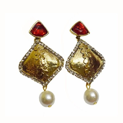 Mrinalini Red and Pearl Drop Alloy Drop Earring