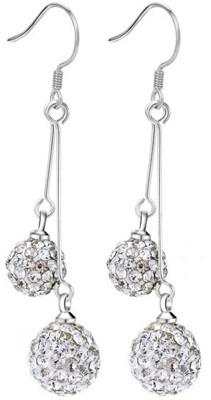 iSweven Silver Crystal Double Balls Fashion For Girls Statement Jewelry Alloy Dangle Earring