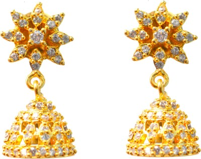 Jdj Imitation Jewelleris Small jhumki White Zircon Brass Jhumki Earring